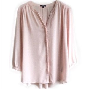 NYDJ Pink & White Pleated Back Blouse Top Size XL